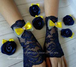 Темно-синие митенки и заколки