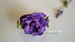 Фиолетовая роза на обруче из фоамирана