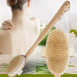 Массажная Щетка с деревянной съемной ручкой для сухого массажа