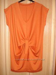 Терракотовое платье-туника для будущей мамочки