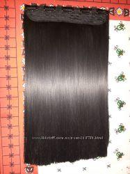прядь черных исскуственных волос на 5 заколках