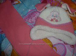 Зимний комплект шапка и шарф на девочку