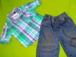 Фирменный комплект джинсики и рубашечка фирмы NEXT на 3-6м состояние нового