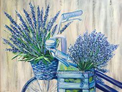 Картина в стиле прованс. Велосипер 45х55