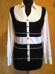 Нарядная блузка стрейчевая со вставками трикотажа.