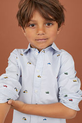 Стильная рубашка с принтом машинки мальчику H&M р. 122, 134, 140