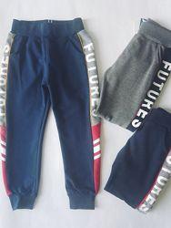 Спортивные штаны трикотажные без начеса р.104-146 джоггеры мальчикам