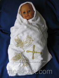 Крестильные полотенца, махровые крыжмы, с уголком и без него по супер ценам