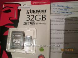 Карта памяти Kingston 32Гб 10кл адаптер Укр гарантия 5лет Пишет 20МБс