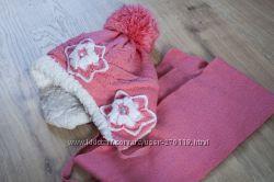 Шапка шарф зимние на девочку 3-5 лет