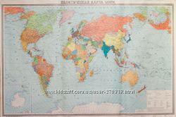 политическая карта мира с картой СССР 1988 г