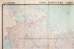 Политическая карта СССР контурная огромная 2 метра на 4