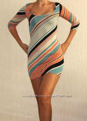 Многоцветное стильное весеннее платье Bershka, цена снижена