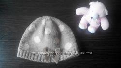 Демисезонная двойная шапочка Next для малышки 3-6 месяцев