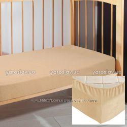Махровые простыни на резинке в детскую кроватку ТМ Ярослав
