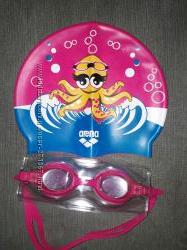 Очки и шапочка для плавания arena для девочки