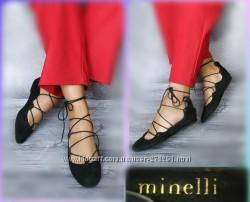 36-37р Замша Новые Minelli Франция, черные туфли, балетки на шнуровке