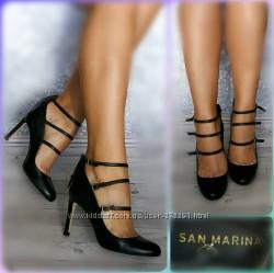 36-37р Кожа Новые San marina Франция, черные туфли, лодочки на каблуке