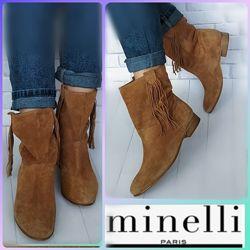 36р Замша, КожаНовые Minelli Франция, рыжие сапожки, ботинки