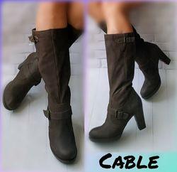 41р Кожа Нубук Новые Испания Cable кожаные сапоги на каблуке