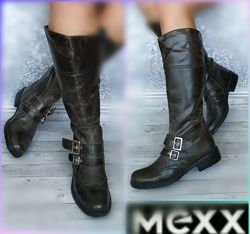 37-38р Кожа Новые Mexx  кожаные высокие сапоги с эффектом потертости старен