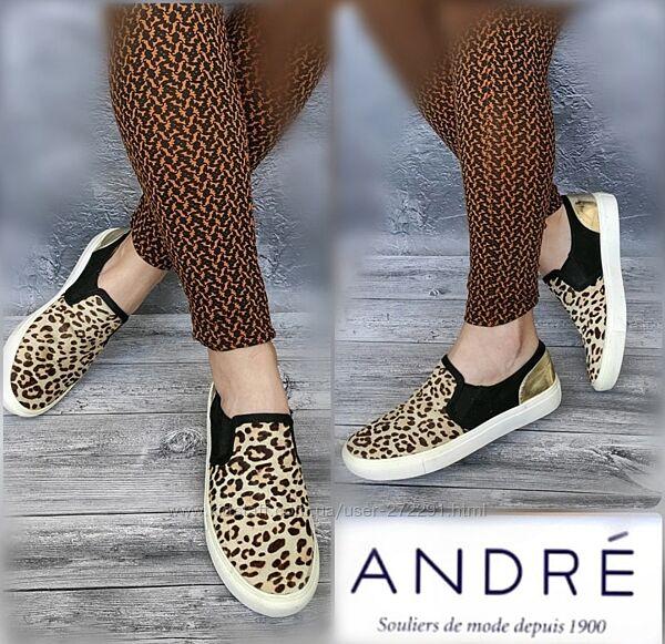 39р Новые Кожа Франция Andre натуральные слипоны, мокасины, леопардовый принт