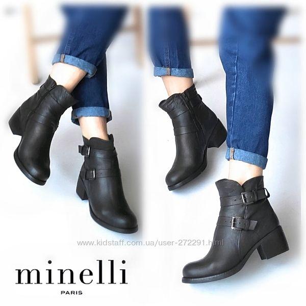 38-39р Кожа Зимние Новые Minelli зимние кожаные ботинки