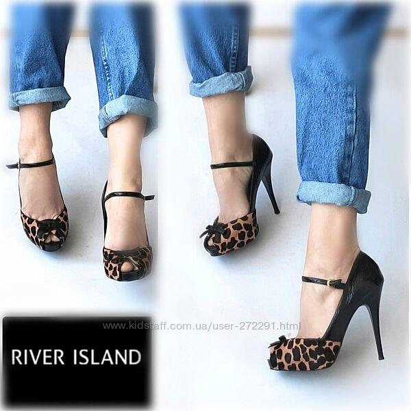 38-39р Кожа  River island, леопардовые туфли на каблуке