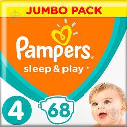 Подгузники Pampers Sleep & Play 4 Maxi 9-14 кг, 68 штук