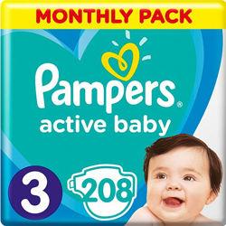 Подгузники Pampers Active Baby 3 6-10 кг, 208 шт, 52 шт.