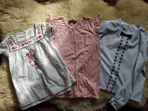Белые блузки, вышиванка 6-8 лет