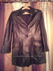 Пиджак женский кожаный черный , размер 3ХL