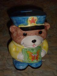 Копилка Медведь керамика целая с пробкой