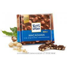 шоколад риттер спорт с орехом макадамия 43грн