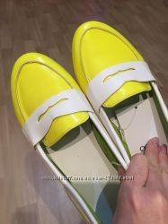 Лимонные жёлтые лоферы. Новые.