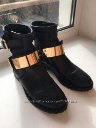 Крутые чёрные ботинки. Натуральная кожа.