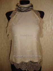 Шикарная бежевая кружевная блуза.