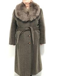Пальто женское зимнее, меховой воротник, xl