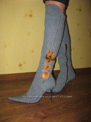 Шикарные джинсовые ботфорды ручной работы