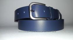Синий мужской кожаный ремень