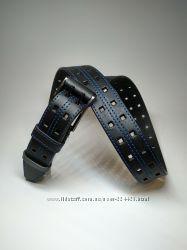 Мужской синий джинсовый кожаный ремень