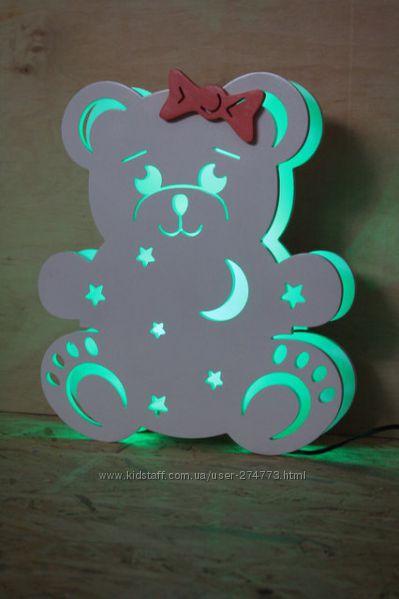 Детский деревянный светильник Мишка