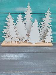 Новогодняя настольная инсталляция из дерева, новогодний декор