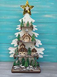 Дизайнерская деревянная ёлка с игрушками и подсветкой, новогодняя ёлка