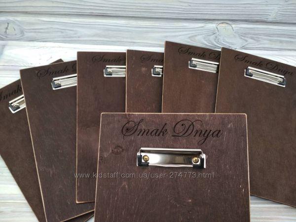 Деревянный планшет-меню для кафе, пабов и ресторанов с Вашим логотипом