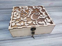 Свадебная резная подарочная коробка, казна, футляр, ящик натурального цвета