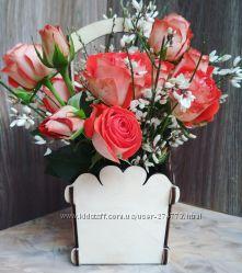Красивая деревянная корзина, кашпо натурального цвета для цветов и подарков