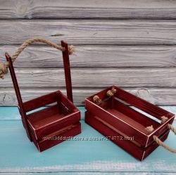 Деревянная корзина, кашпо винного цвета для цветов и подарочных композиций