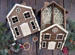 Деревянная упаковка, коробка, ящик Дом, Домик для цветов и подарков