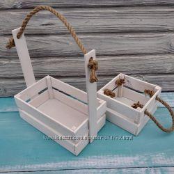 Деревянная корзина, кашпо белого цвета для цветов и подарочных композиций